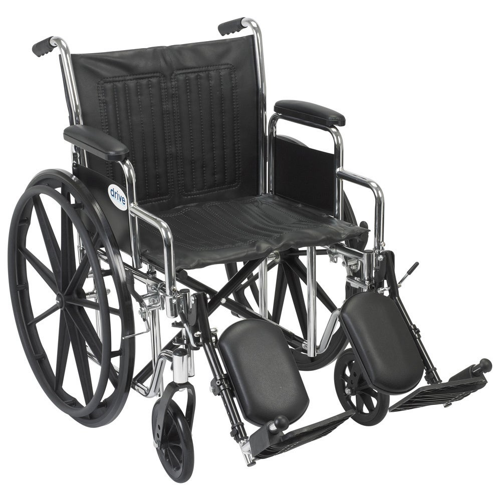 "Drive Medical Chrome Sport Wheelchair (Detachable Full Arms,Swing-away Footrests,16"" Seat)"