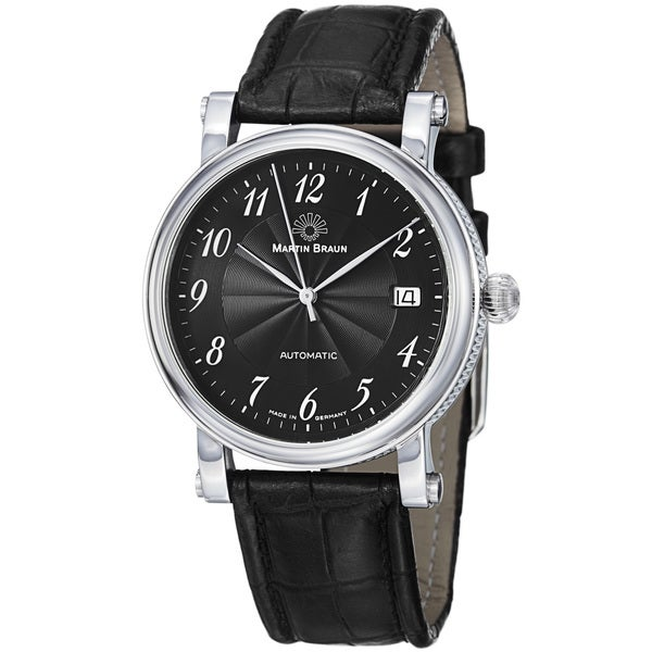 6330a9d5c Shop Martin Braun Men's 'Teutonia' Black Dial Black Leather Strap ...
