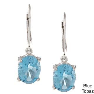 Kabella Sterling Silver Oval-cut Gemstone Leverback Earrings