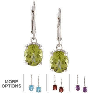 Kabella Sterling Silver Oval-cut Gemstone Leverback Earrings