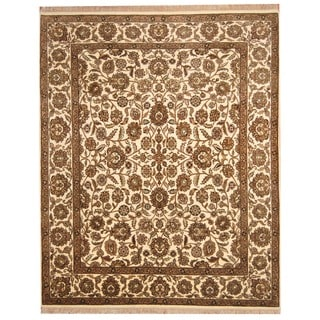 Herat Oriental Indo Hand-knotted Mahal Ivory/ Gold Wool Rug (8' x 10')