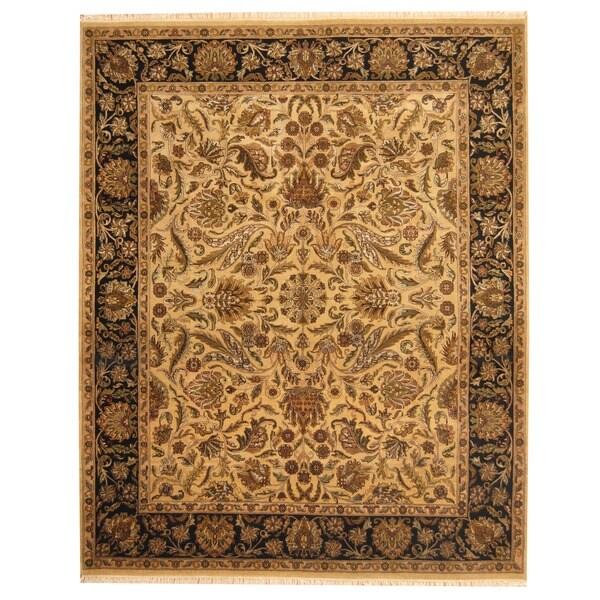 Herat Oriental Indo Hand-knotted Mahal Beige/ Black Wool Rug (8' x 10')