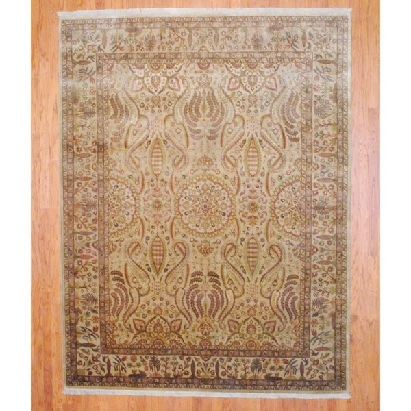 Indo Hand-knotted Farahan Beige/ Gold Wool Rug (8' x 10')