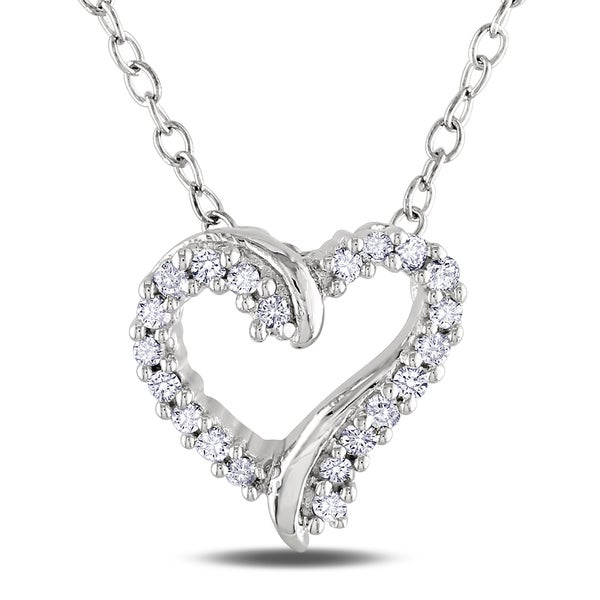 Haylee Jewels Sterling Silver Diamond Heart Necklace (H-I, I2-I3)