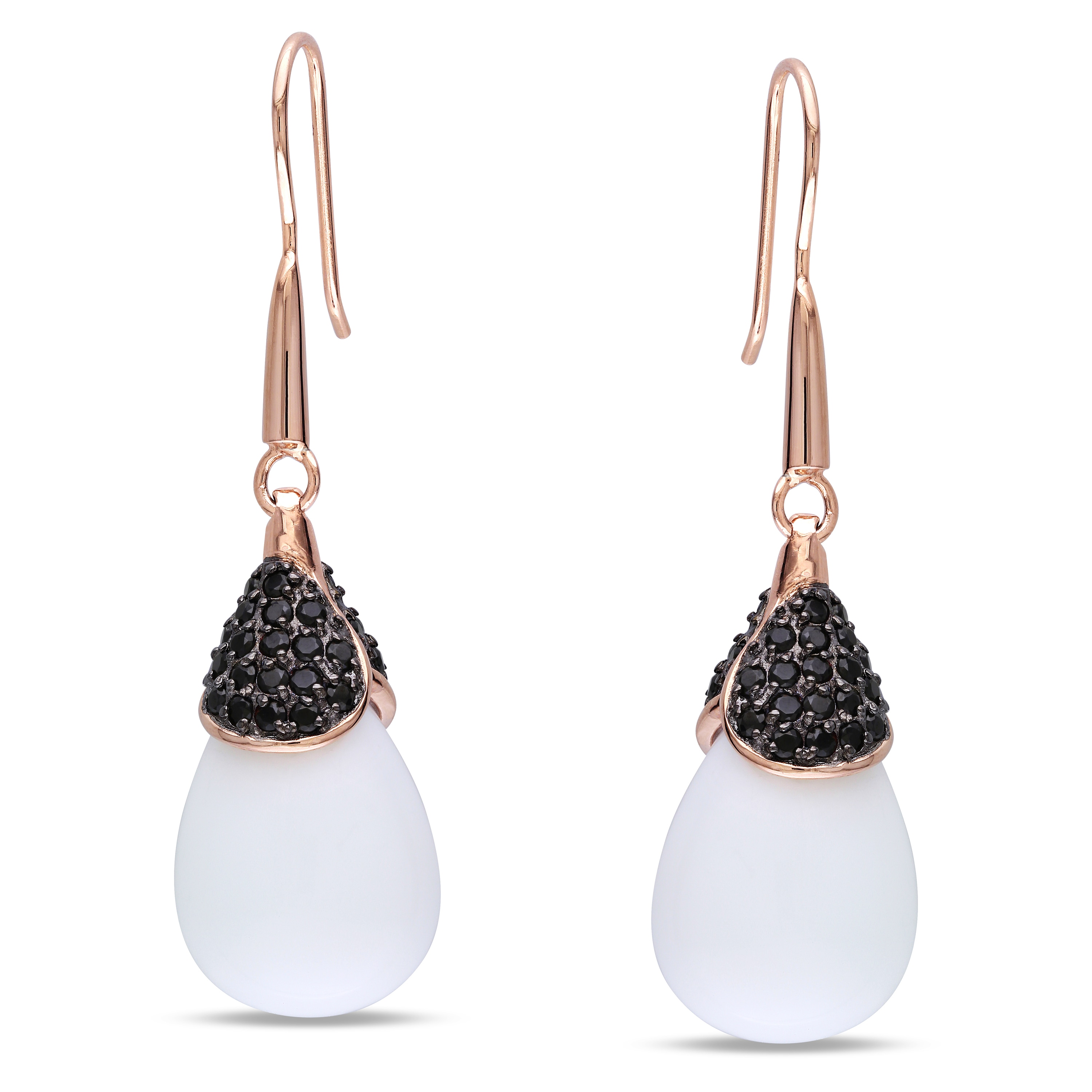 Miadora Rose-plated Silver Synthetic Agate and Cubic Zirconia Earrings