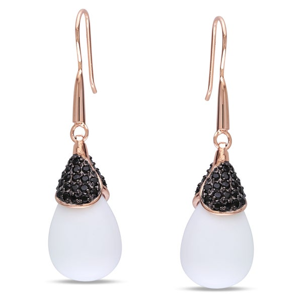 Catherine Catherine Malandrino Rose-plated Silver Synthetic Agate and Cubic Zirconia Earrings