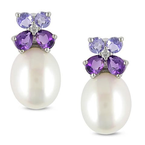 Miadora Silver Pearl, Multi-gemstone and Diamond Earrings (8-8.5 mm)