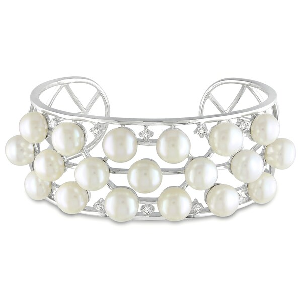 Catherine Catherine Malandrino Silver FW Pearl and Cubic Zirconia Cuff Bracelet (8-8.5 mm)