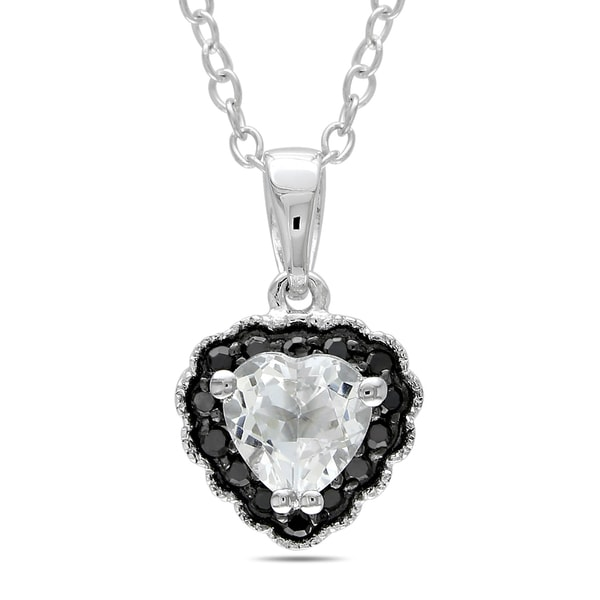 Miadora Sterling Silver White Topaz and Black Diamond Heart Necklace