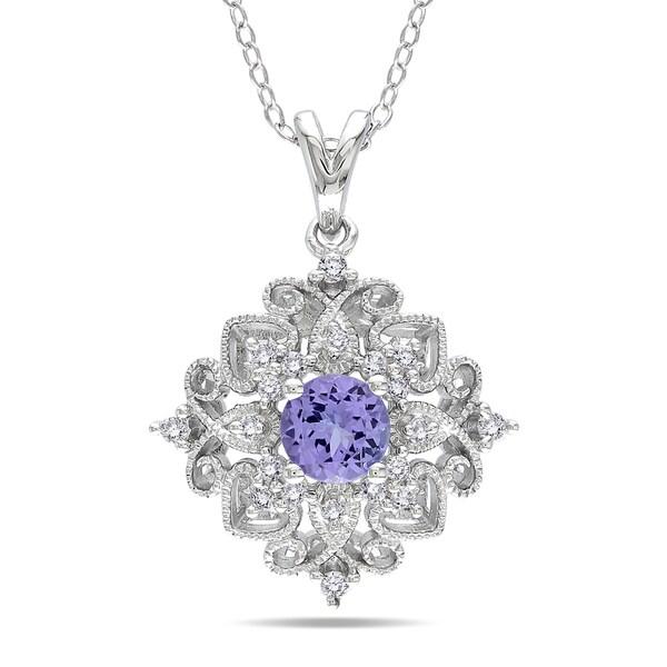 Miadora Sterling Silver Tanzanite and 1/6ct TDW Diamond Necklace (H-I,I3)