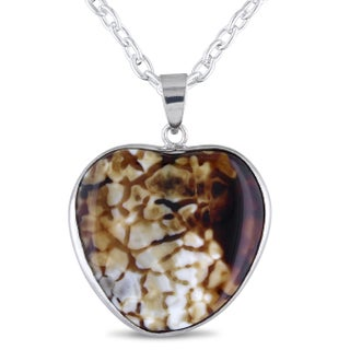 Miadora Silvertone Animal Print Agate Heart Shape Necklace
