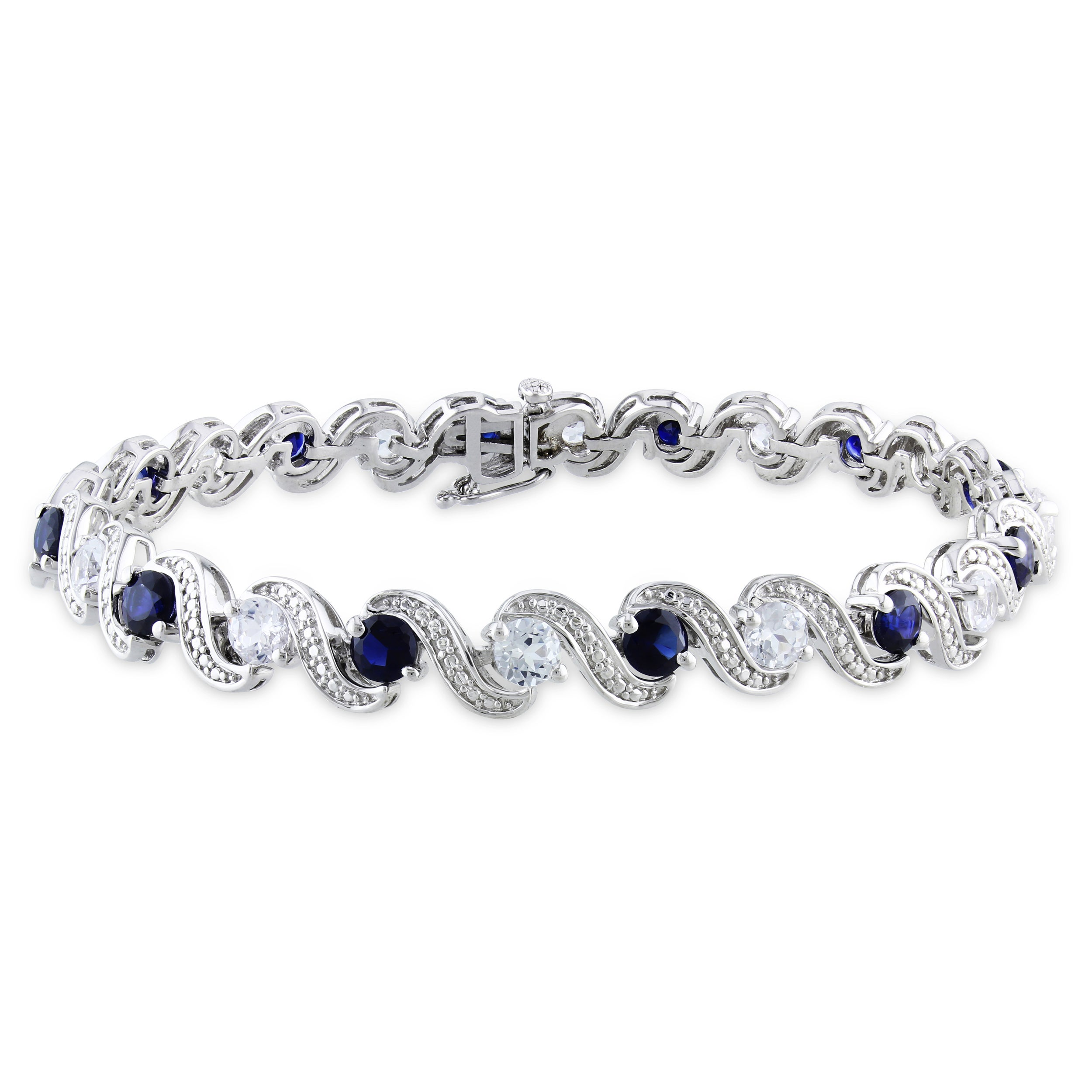 shaped and white in gold sapphire pear round shape bracelet image diamond