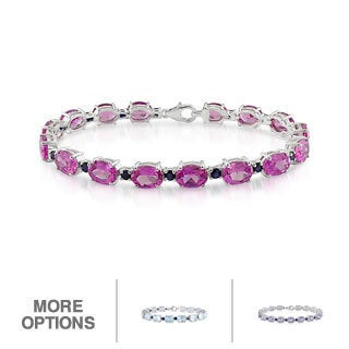 Miadora Sterling Silver Gemstone and Blue Sapphire Bracelet