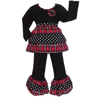 AnnLoren Girls Holiday Plaid and Polka Dots Rumba Shirt and Pants Set