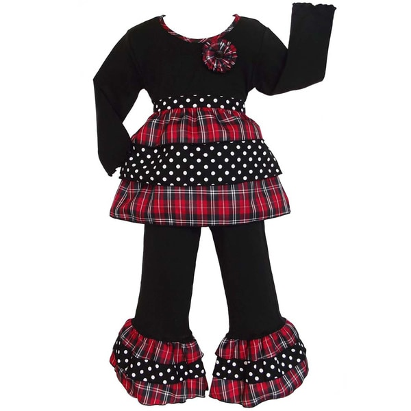 AnnLoren Girls Holiday Plaid and Polka Dots Rumba Shirt and Pants Set