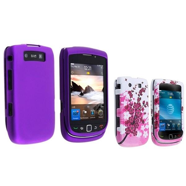 BasAcc Flower Case/ Purple Rubber Case for Blackberry Torch 9800