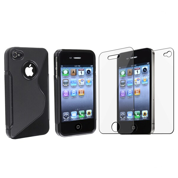 INSTEN TPU Phone Case Cover/ Transparent Screen Protector for Apple iPhone 4/ 4S
