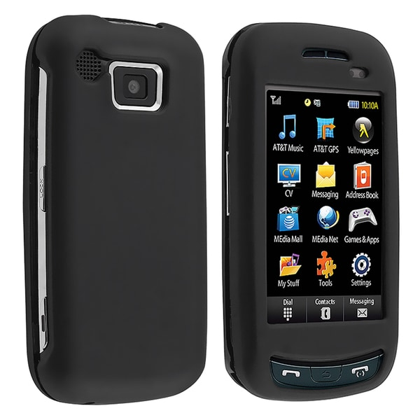 INSTEN Black Snap-on Rubber Coated Phone Case Cover for Samsung Impression A877
