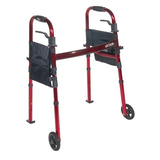 Drive Medical Portable Folding Travel Walker with 5-inch Wheels and Fold-up Legs