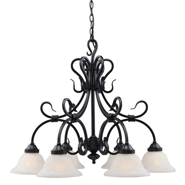 Landmark Lighting Matte Black with Glass Buckingham 6-light Chandelier