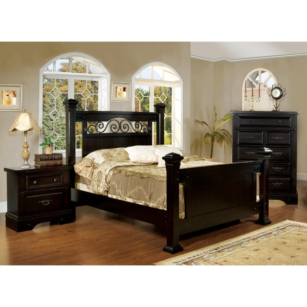 Furniture of America 3-piece Queen-size Bed with Nightstand and Chest Set