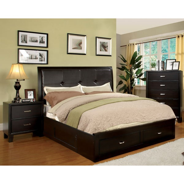 Furniture Of America Ella 3 Piece Queen Size Bed With Nightstand And Chest Set Free Shipping