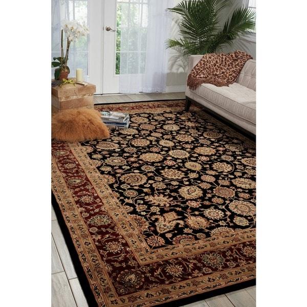 Nourison 2000 Hand-tufted Kashan Black Rug (8'6 x 11'6)