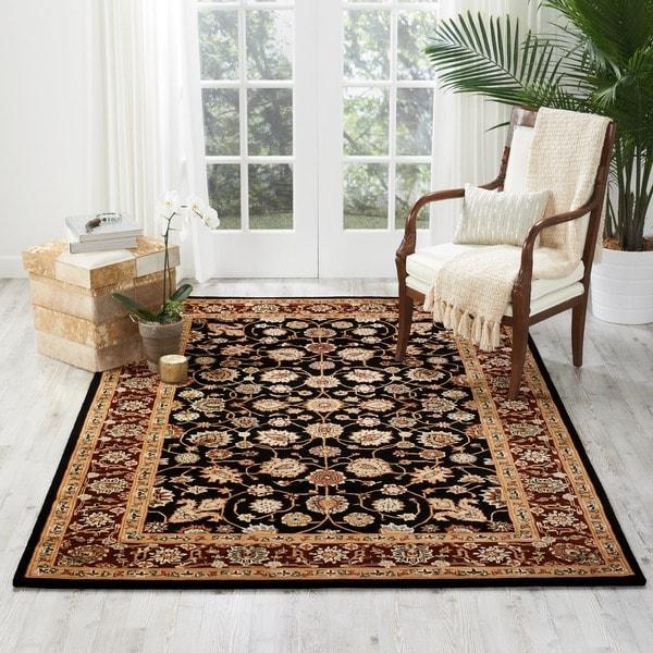Nourison 2000 Hand-tufted Kashan Black Rug (7'9 x 9'9)