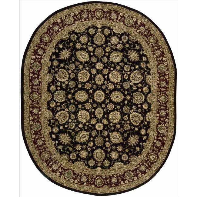 Nourison 2000 Hand-tufted Kashan Black Rug (7'6 x 9'9)