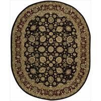 Nourison 2000 Hand-tufted Kashan Black Rug - 7'6 x 9'9