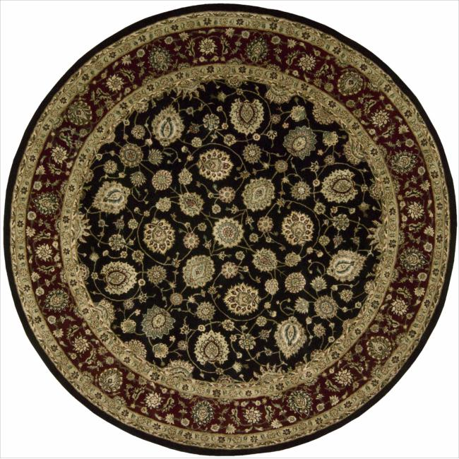 Nourison 2000 Hand-tufted Kashan Black Rug (8' Round)