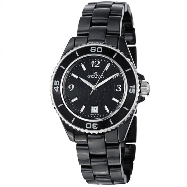 Grovana Men's 4001.1187 Black Dial Black Ceramic Bracelet Quartz Watch