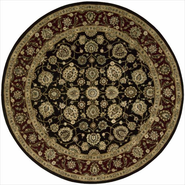 Nourison 2000 Hand-tufted Kashan Black Rug (4' Round)
