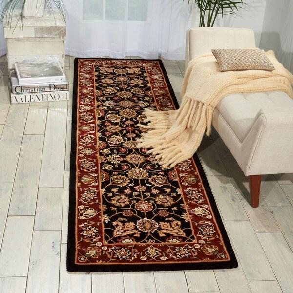 Nourison 2000 Hand-tufted Kashan Black Rug (2'3 x 8')
