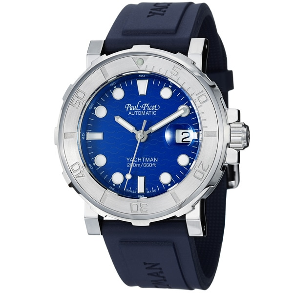 Paul Picot Men's 'Yachtman' Blue Dial Rubber Strap Automatic Watch