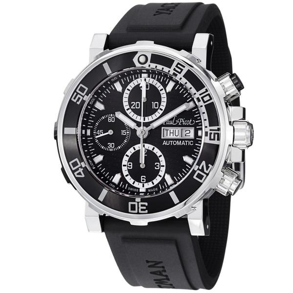 Paul Picot Men's 'Yachtman' Black Dial Chronograph Automatic Watch