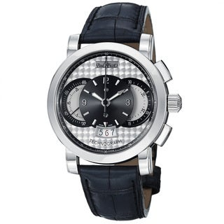 Paul Picot Men's P0334Q.SG.1032.7201 'Technograph' Silver Dial Grey Leather Strap Watch