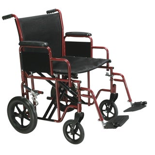 "Drive Medical Bariatric Heavy-duty Transport Wheelchair with Swing-away Footrest (22"" Seat - Red)"