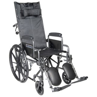 "Drive Medical Silver Sport Reclining Wheelchair with Elevating Leg Rests (Detachable Full Arms, 18"" Seat)"