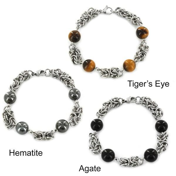 ELYA Stainless Steel Created Stone Bead Bracelet