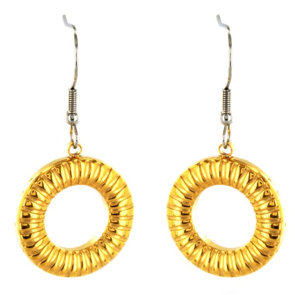 Two-tone Stainless Steel Open Circle Dangle Earrings
