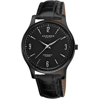 Akribos XXIV Men's Stainless Steel Swiss Quartz Black Strap Watch with FREE GIFT|https://ak1.ostkcdn.com/images/products/7263776/P14741388.jpg?impolicy=medium