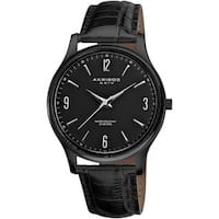 Akribos XXIV Men's Stainless Steel Swiss Quartz Black Strap Watch