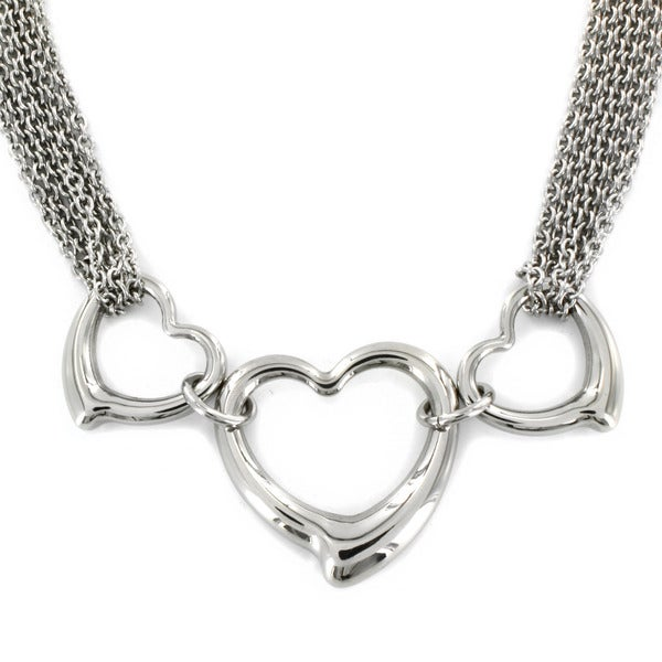 West Coast Jewelry Stainless Steel Polished Open Hearts Necklace