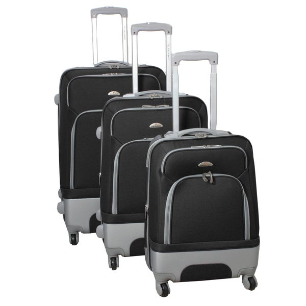 Mobility Dejuno Black 3-piece Expandable Spinner Luggage Set