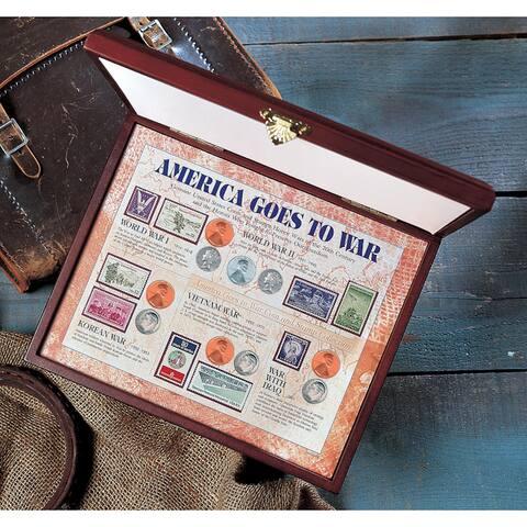 American Coin Treasures America Goes to War in Wood Display Case