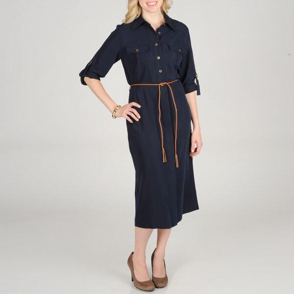Sharagano Women's Shirt Dress with Rope Belt