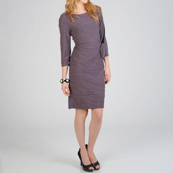 Sharagano Women's Side Tie Wavy Knit Dress