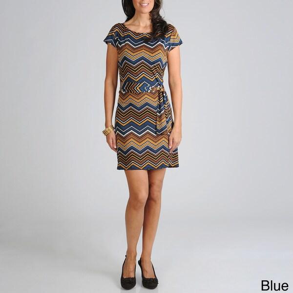 Sharagano Women's Zig Zag Jersey Dress with Self Belt