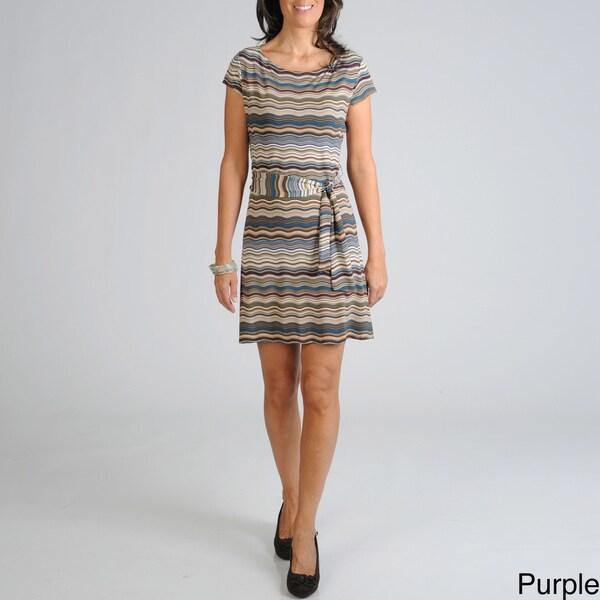 Sharagano Women's Wavy Stripe Jersey Dress